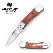 Wild Turkey Handmade Wood Handle Buck Style Action Assist Pocket Knife