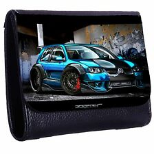 Blue Car Tri-Fold Wallet w/ Button Pocket