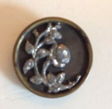Vintage Rose Vine  Cut Steel Metal Picture Button ~ Estate Sale Find