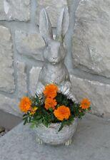 BUNNY RABBIT Planter Statue w/Basket*Primitive/French Country Garden Room Decor