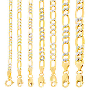 "14K Yellow Gold 2-8mm Diamond Cut White Pave Figaro Link Chain Necklace 16""- 30"""