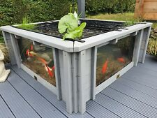 More details for lotus clear view garden aquarium grey raised pond with large windows