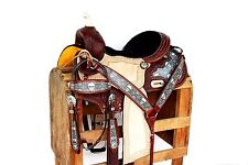 "16"" western Barrel Trail Horse Handmade Leather Saddle Bridle breastcollar set"