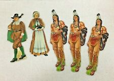 Vintage Dennison Thanksgiving Pilgrim Man & Woman and Indian Cutouts T13