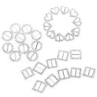 30pcs Heart + Round + Square Shape Ribbon Buckle Sliders for DIY Craft Wedd U7N8