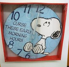 """SNOPPY  """"CURSE THOSE EARLY MORNING HOURS"""" 13.5""""  DECOUPAGE WALL CLOCK BY VANDOR"""