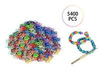 5400 PCS Colorful Rainbow Rubber Loom Bands Bracelet Making Kit Set Fun DIY