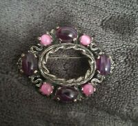 MIRACLE Vintage Celtic Silvertone Miracle oval Brooch banded Amethyst stones