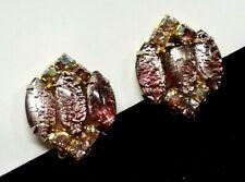 Vintage Juliana D&E Pink AB Rhinestone Foiled Art Glass Earrings Delizza Elster