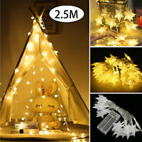 2.5M LED String Star Fairy Lights Warm White Home Bedroom Xmas Party Decoration