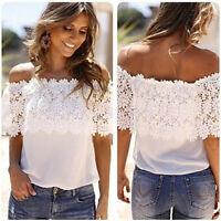 Fashion Women Chiffon Sexy Off Shoulder Lace Summer Shirt Casual Top Blouse New