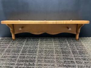 """Wooden Wall Hanging Single Shelf with 2 Pegs 24"""" Wide"""