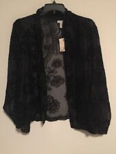 Avenue Evening Wrap Jacket Black Women Paisley  Size 22 Flower Long Sleeves