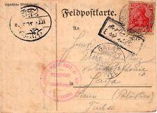 Turkey to Palestine 1915 WWI censored official German Army postcard