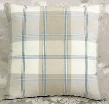 "John Lewis Harrow check Fabric cushion cover 16""x16"" Coastal,  Duck Egg/blue"