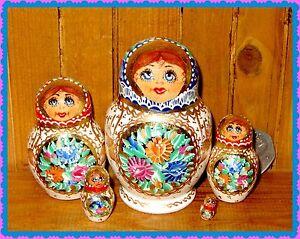 Nesting Russian Doll Matryoshka Babushka SMALL Hand Painted SIDOROVA signed 5