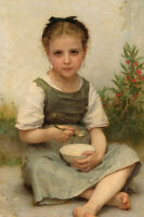 Dream-art Oil painting Bouguereau Lunch in the Morning Little girl with bowl 36""