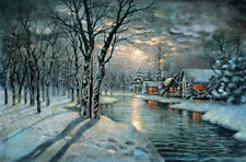Oil painting Snowy night landscape with moon Village river canvas