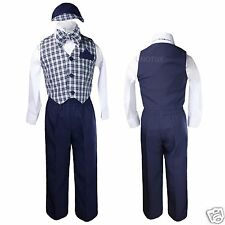 Navy Blue Baby Boys Toddler Formal Wedding Vest Suits Outfits S M L XL 2T 3T 4T