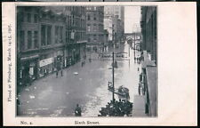PITTSBURGH PA 1907 Flood Sixth Street Boats in Street Antique B&W Postcard Vtg