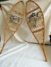 """Vintage Pair Maine Snowshoes L.L. Bean Steam Bent Oak 14"""" X 48"""