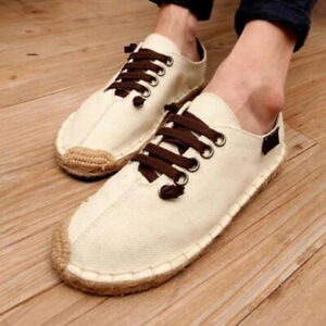 Mens Fashion Summer Comfy Breathable Canvas Loafer Slip On Espadrilles Shoes HOT