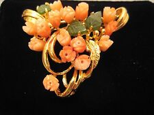 Pink Coral Tulip /Jade Leaf Pin Brooch Gold Plated