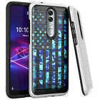 Silver Combat Case for Coolpad Legacy Brisa (2020) Phone Cover-BLUE CAMO US FLAG