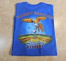 323  Tommy Bahama Blue STEALING SECOND Cotton Baseball Logo T Shirt S