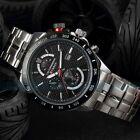 New Men's Analog Quartz Date Sport Army Black Stainless Steel Wrist Watch