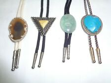 Lot of 4 Vtg Bolo Ties Southwestern Agate Stone Triangle Eagle Wilmarth