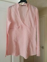 Super Mexx Pink Mix Spotted Top, Long Sleeves, V Neck, Size 10, VGC