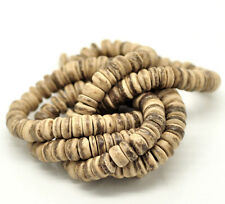 "Coconut Wood Beads 8mm Rondelle Round - One 14"" Strand 100 Beads Approx J18331W"