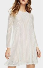 NEW BCBG MAX AZRIA WHITE NATYLY GEOMETRIC LACE DRESS NZS60L96 SIZE S $198.00