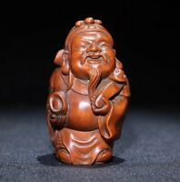 Noble chinese fengshui boxwood carved Wealth God ruyi statue netsuke figurines