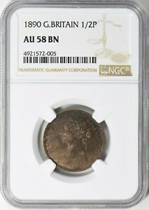 Great Britain 1890 1/2 Penny NGC AU-58 BN