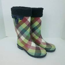 Capelli Rain Boots Plaid Rubber w/ Black Fleece Liners Women's 8