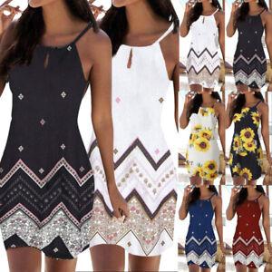 Women Beach Sundress Ladies Halter Neck Boho Sleeveless Mini Party Dress 2021