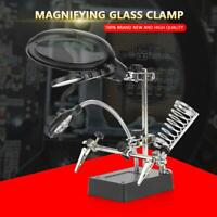 Helping Hand 2.5X 7.5X 10X LED Light Magnifier Station Magnifying Glass Stand US