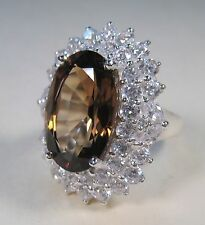 IMPERIAL TOPAZ & WHITE SAPPHIRE RING 12.25 CTW sz 7 - WHITE GOLD over 925 SILVER