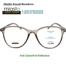 MIASTO MULTI-FOCAL COMPUTER READER READING GLASSES+3.00 NO LINE ANTI-GLARE~GRAY