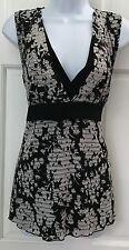 Cato Womens Black Blouse SZ XL Floral Print White Gray Textured Stripes Stretchy