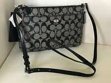 NEW! COACH PEYTON SIGNATURE SWINGPACK CROSSBODY SLING BAG W/ POUCH $178 CHARCOAL
