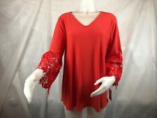 Alfani 3/4 Sleeve Blouse Women's Plus Size 1x Red Lace on Sleeves With Tags&
