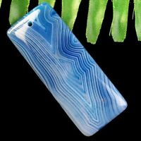 50x20x7mm Blue Stripes Onyx Agate Oblong Pendant Bead randon send