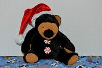 """Dandee Plush Brown Bear with Santa Hat Christmas, Toys Holiday Peppermint 10"""""""