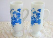 2 Vintage Avon Milk Glass Blue Transfer Victorian Lovers Scene Demitasse Mugs