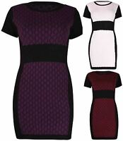 Womens New Short Sleeve Ladies Knitted Contrast Dress Jumper Tunic Top Plus Size