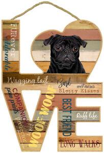 Large Black Pug Love plaque sign wood gift/present dog