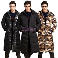 Mens Winter Long Down Hooded Casual Puffer Warm Hot Coat Padded Parka Jacket New